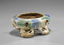 Antique Chinese Glazed Pottery Crab Vessel