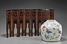 Antique Porcelain Jar & Lacquer Tablescreen