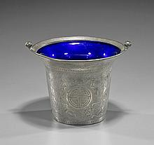 Antique Chinese Pewter & Glass Vessel