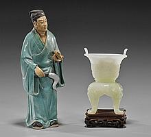 Carved Bowenite Vessel & Glazed Pottery Figure