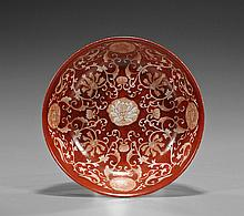 Chinese Coral Red Floral Porcelain Bowl