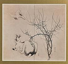 Framed Chinese Print with Deer & Crane