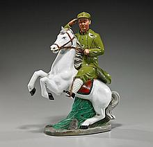 Chinese Polychromed Porcelain Equestrian Mao