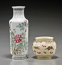 2 Various Asian Enameled Ceramic Vessels