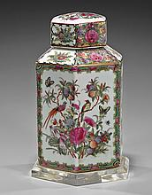 Chinese Rose Medallion Porcelain Tea Jar