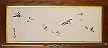 Antique Japanese Paper Scroll: Cranes