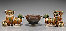 Three Chinese Ceramics: Pair of Lions & Bowl
