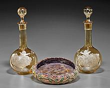 Pair Glass Decanters & Pottery Bowl