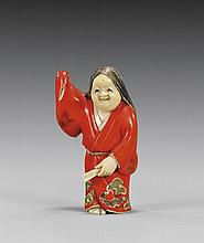 CARVED & LACQUERED IVORY NETSUKE