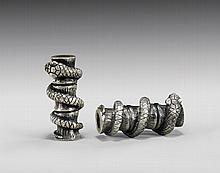 TWO SILVER OJIME BY BRAD BLAKELY: Snakes