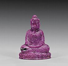 CARVED RUBY MATRIX SEATED BUDDHA