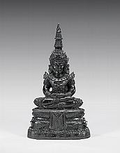 CARVED BLACK JADE SEATED BUDDHA