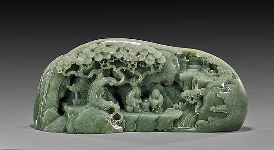 CHINESE CARVED GREEN JADE MOUNTAIN