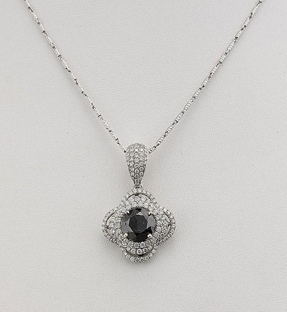 Black & White Diamond Pendant Necklace
