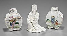 Group of Three Porcelains: Moon Flask & Guanyin