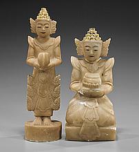 Pair Antique Southeast Asian Marble Deities