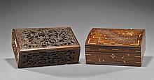 Two Rectangular Asian Wood Boxes