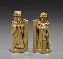 Pair Older Chinese Soapstone Bookends