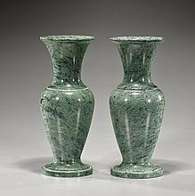 Pair of Polished Green Marble Vases