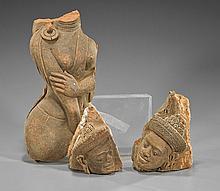 Three Thai Sandstone Figural Fragments