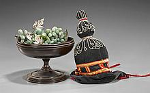 Two Items: Hardstone Grapes & Hat