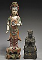 Two Antique Chinese Carved Wood Figures