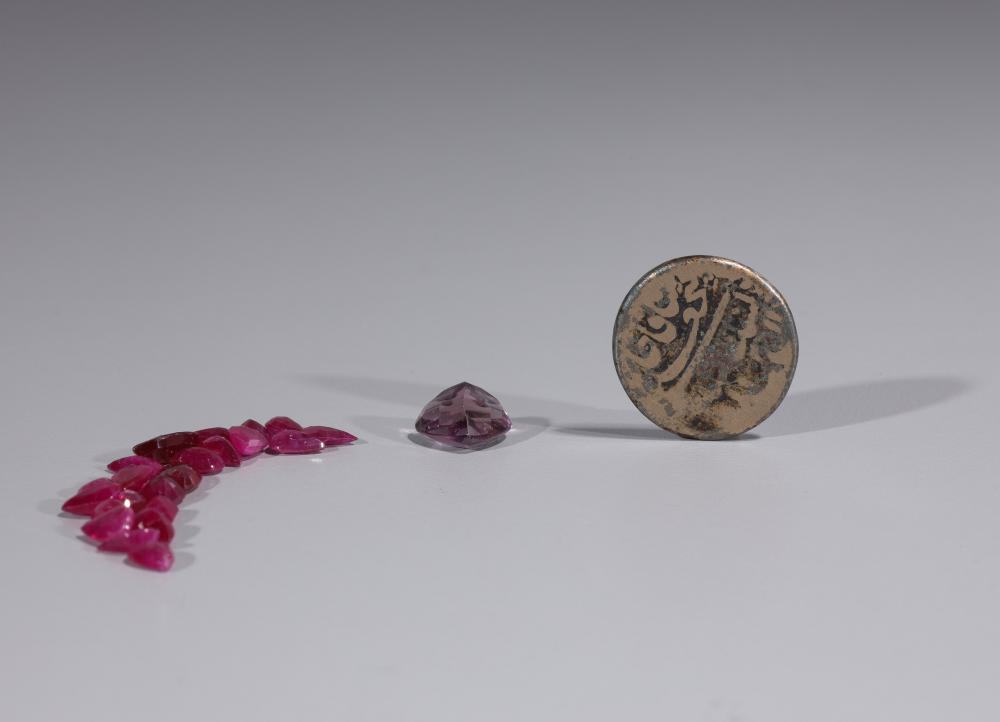GROUPING OF GEM STONES & PERSIAN COIN