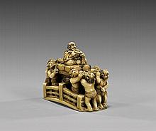 ANTIQUE CARVED IVORY NETSUKE: Bridge & Figures
