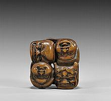 ANTIQUE WOOD NETSUKE: Seven Masks