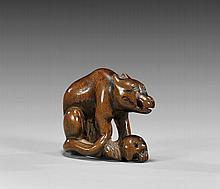 ANTIQUE CARVED WOOD NETSUKE: Wolf &Skull