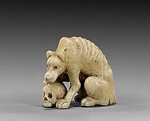 ANTIQUE IVORY NETSUKE: Wolf & Skull
