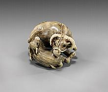 CARVED IVORY NETSUKE: Water Buffalo