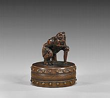 ANTIQUE WOOD NETSUKE: Oni with Drum