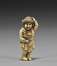 CARVED IVORY NETSUKE: Dutchman & Rooster