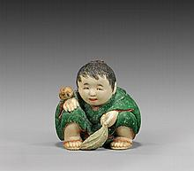 CARVED & LACQUERED IVORY NETSUKE: Boy