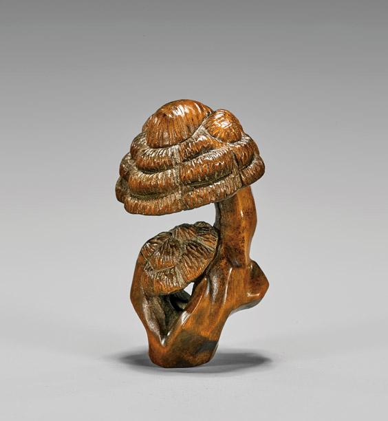 Carved boxwood netsuke mushrooms