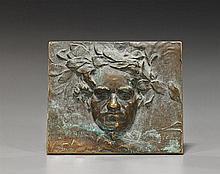 Signed Bronze Portrait Plaque: Beethoven