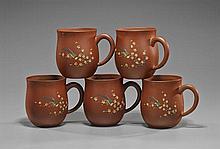 Set of Five Yixing-Type Pottery Mugs