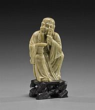 Chinese Carved Soapstone Seated Lohan
