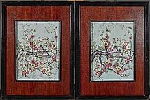 Pair Framed Famille Rose Porcelain Tiles