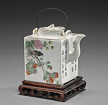 Antique Chinese Square Porcelain Teapot