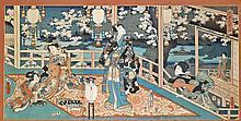 Antique Woodblock Triptych : Toyokuni III