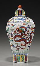 Chinese Wucai-Style Porcelain Meiping Vase