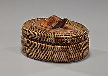 Woven Basketry Box with Carved Wood Turtle