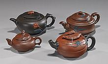 Group of 4 Chinese Yixing Pottery Teapots