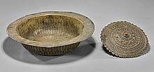 Two Bronze Items: Bowl & Shield