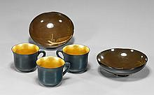 Group of Five Lacquered Items: Cups & Saucers