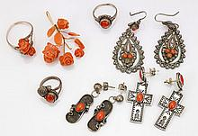 Collection of Coral Jewelry Items