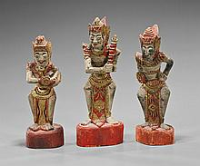 Three Indonesian Carved Polychrome Wood Dancers
