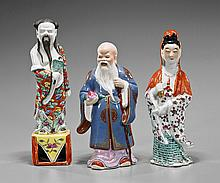 Three Chinese Enameled Porcelain Figures